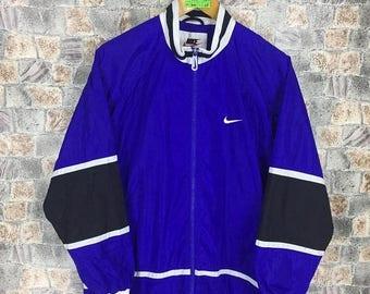 Nike Windbreaker Blue Jacket Medium Vintage 90s Nike Swoosh Sportswear Windbreaker Sports Nike Trainer Jacket Track Top Size Size M