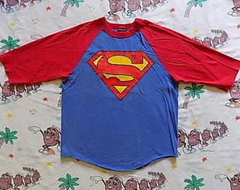Vintage Superman raglan 3/4 sleeve Baseball T shirt, size Medium Warner Brothers