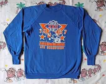 Vintage 80's Denver Broncos 1987 Super Bowl AFC Champs pullover Sweatshirt, size Medium by Logo 7 NFL