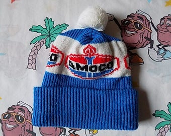 Vintage 80's Amoco Gas Station roll up Pom Beanie, Adult Size fits most Promo logo
