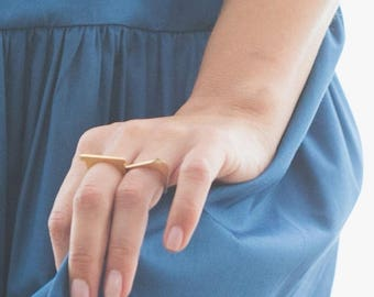 ON SALE Geometric Statement 925 Silver or 14K Gold Minimist Thin Square Shaped Ring - Handmade Product