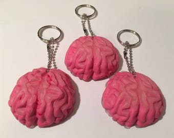 Brain Keychain - Pink & Clear Matte Finish