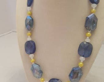 Blue and Yellow Necklace Yellow and Blue Necklace Beach Necklace One Of A Kind Necklace Summer Necklace Statement Necklace Women's Necklace