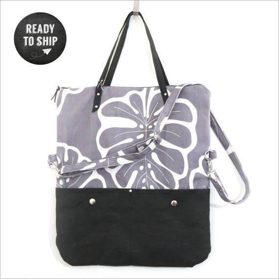 """Bag covertibile """"Monstera"""" shopping bag and Messenger, 2 in 1, canvas and SNAPPAP light grey and black, print """"Monstera"""""""