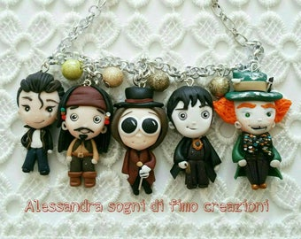 Johnny Depp bracciale con personaggi jack Sparrow cappellaio matto Tim Burton Willy wonka cry baby Dark shadow