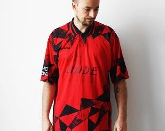Vintage Erima soccer tshirt / Football soccer jersey t-shirt / Mens Linde Geometric t-shirt tee shirt / Red Black / Slovenia XXL 90s