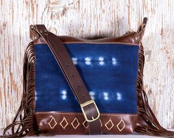 Brown Leather Fringe Bag - Festival Fringe Bag - Ethnic Leather Bags - Indigo Mud Cloth - Brown Leather Bag with Fringe