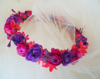 Pink and Purple Roses Crown, Bridesmaid Tiara, Renaissance Crown, Baby Shower Crown, Roses Flower Crown, Fairy Tiara