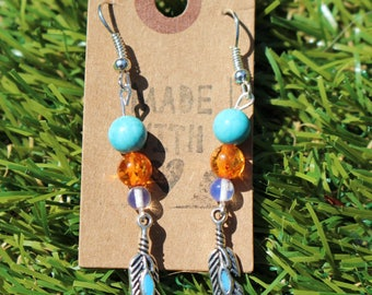 Handmade Navajo/Bohemian/Festival Turquoise and Amber Crystal Feather Drop Earrings