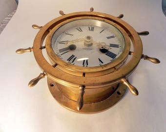 vintage solid brass ships wheel Waterbury clock case