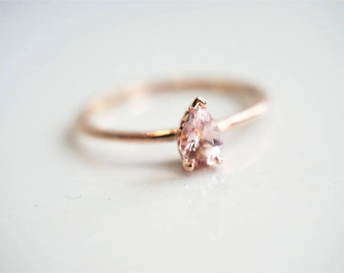 Pear Shaped 6 x 4 mm Baby Pink Morganite V end Vintage Setting, 14K Rose Gold Morganite Ring