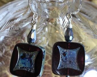Artisan Jewelry Czech Glass,Crystals, on Sterling Hooks Ooak Earrings MOONAGECRUNCHANDMUNCH