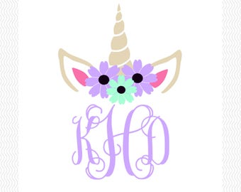 Unicorn Monogram Vinyl Decal | Unicorn Decal | Car Decal | Yeti Decal | Magical Decal |