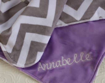 Baby Girl Blanket Personalized, Baby Blanket with Name, Chevron Baby Blanket, Personalized Chevron Baby Blanket , Personalized Minky Blanket