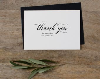 Thank you for Capturing our Wedding - Card for Wedding Photographer - Wedding Card, Wedding Thank You Cards, Wedding Photographer Card, K2