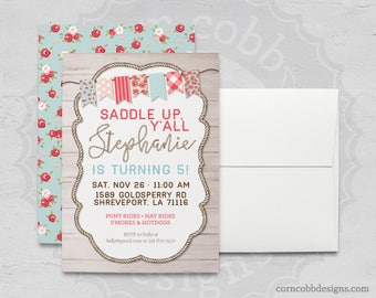 Personalized Shabby Chic Cowgirl Birthday Invitation