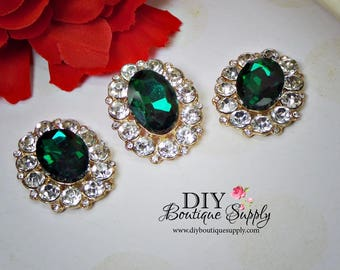 NEW Large Emerald Green Buttons Rhinestone Buttons Gold Flatback Embellishment Great For Shoe Clips Bows flower centers 3pc 32x25mm N142