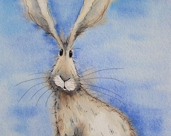 Small hare original watercolour painting, hare picture, hare painting