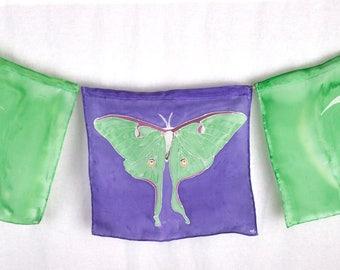 "Handpainted Silk Luna Moth ""Prayer"" Flags in Green and purple"