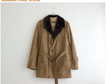 70's Trench Coat, Vintage Shearling Coat, Brown Military Jacket with Faux Fur Collar, Unisex Rain Coat size Medium Large