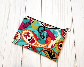Paisley on Aqua Small Zipper Pouch