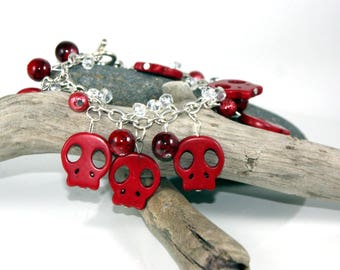 Red Skull Beaded Jewellery.  Gothic Accessories.  Alternative Wedding.  Red Sugar Skull.  Anniversary Gifts for Girlfriend