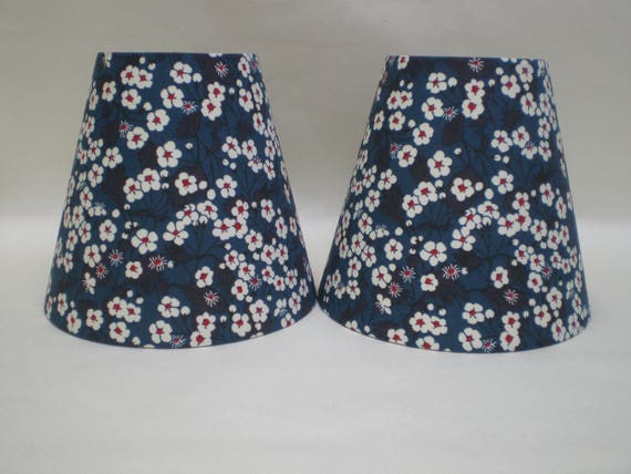 Pair of Handmade Candle Lightshades - Liberty Fabric - Mitsi - Delicate Floral Design