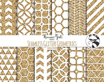 Seamless Glitter Geometrics in Gold Digital Paper Set - Personal & Commercial Use