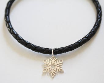 Leather Bracelet with Sterling Silver Snowflake Charm, Snowflake Bracelet, Snowflake Charm Bracelet, Snowflake Pendant Bracelet, Snowflake
