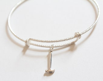 Sterling Silver Bracelet with Sterling Silver Hammer Charm, Hammer Charm Bracelet, Hammer Bracelet, Tiny Hammer Bracelet, Silver Hammer