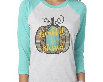 Thankful Blessed Shirt, Fall Shirts, Fall Shirt Women, Leopard Print Pumpkin Shirt, Thankful Shirt, Blessed Shirt, Womens Shirts, Raglan