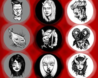 Black and White Horror Button Set
