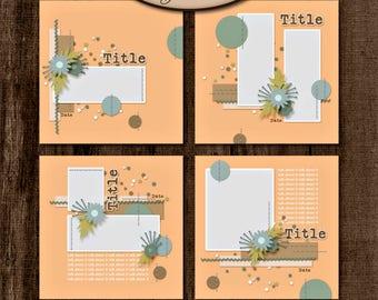 Digital Scrapbooking, Layout Template Set, Cu, Pu: Stitched Up
