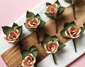 Buttonhole Groom / Rose Gold Wedding Boutonnieres / Paper Flower Buttonhole / Mens Metallic and Greenery Buttonhole / Copper Boutonnieres