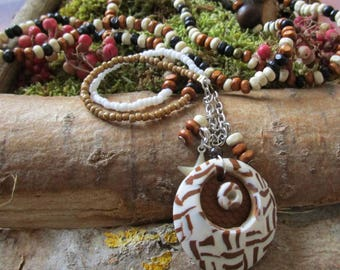 Ethnic long necklace beige brown chocolate unique polymer Candella wood
