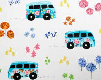 Fabric, Hit the Road, Love Bus, Camper Van, Road Trip, White, Michael Miller, By the Yard