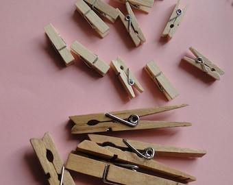 Set of 6 Wood Clothespins Crafts DIY Shabby Chic Craft