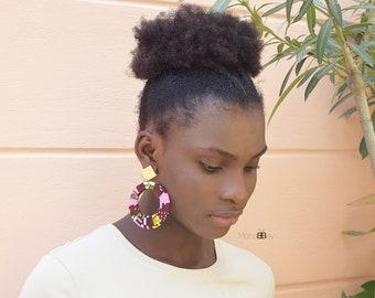 Boucles d'oreilles Aisha en tissu wax, african earrings for women, ankara jewellery, textile earrings, statement earrings, afro chic jewelry