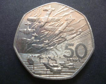 Great Britain 1994 50p coin (fifty pence piece) in good used (circulated) condition, ideal gift or for jewellery or craftmaking projects.