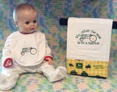 John Deere themed burp cloth/bib set. On sale.
