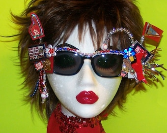 Decorated St Louis Cardinals Baseball Best Fans-Spring Training-Fun Gift-Red, White & Blue Rhinestones #1 Fan Sassy Sunglasses