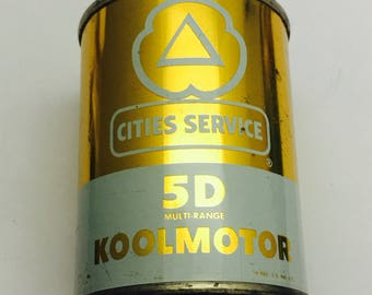 Vintage Gold Cities Service KOOLMOTOR Promotional Motor Oil Can / Bank - 4 oz, Motor Oil Tin Coin Bank Collectible