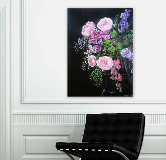 Floral painting black background Marcy Chapman pink roses, lilacs, chrysanthemum, beautiful painting Custom order an original painting