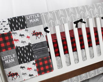 Moose Woodland Crib Bedding - Buffalo Plaid with Arrows, Red and Black and Grey - Lumberjack Crib Bedding, Baby Boy Bedding, Nursery Bedding