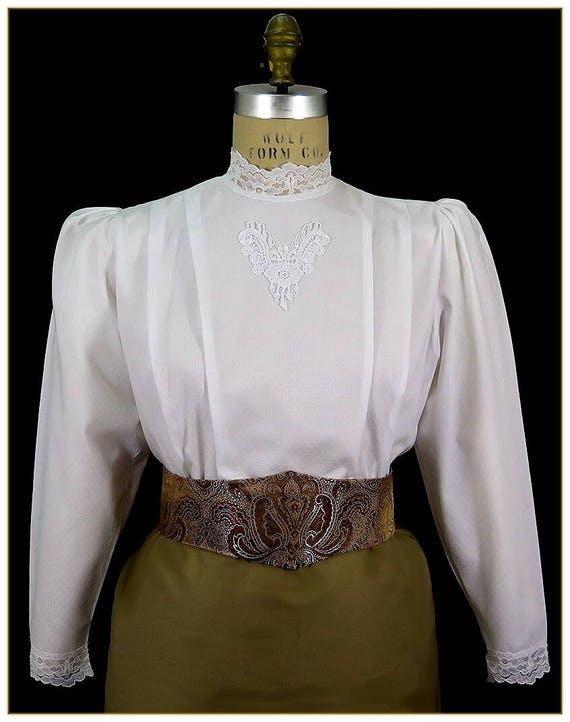Victorian Blouses, Tops, Shirts, Vests Lace Dobby Victorian BlouseLace Dobby Victorian Blouse $59.00 AT vintagedancer.com