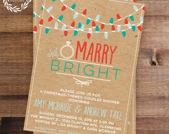Christmas Shower Invitation | Marry & Bright | Holiday Wedding Shower | Couple's Shower | Christmas Theme | Printable Invitations or Printed