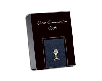 First Communion Navy Paisley Tie with Silver Chalice Tie Pin Gift Set in Gift Box (FCTB-Navy Paisley)