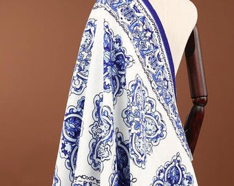 "The blue and white style Jacquard Fabric Brocade Fabric Bridal Wedding Dress positing printed fabric -FSMIL-55""wide/ 140 cm"