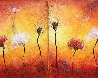 "Flowers at sunset, diptych, 0il on canvas, 16"" x 20"" (40 cm x 50 cm) each"