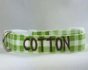 Dog Collar Personalized- Green & White Plaid